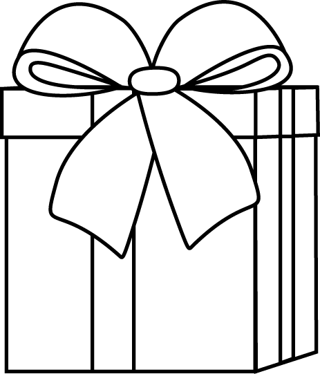 Gifts clipart line art. Black and white christmas