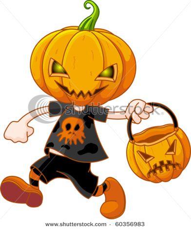 Clipart pumpkin character. Cartoon head boy in