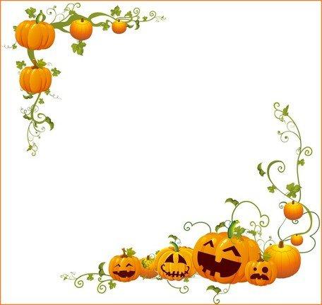 Pumpkin clipart corner. Free halloween frames and
