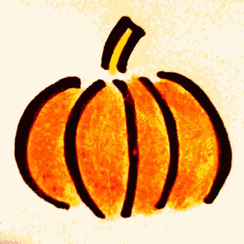 Hand drawn medium image. Pumpkin clipart day
