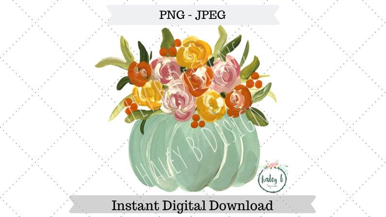 Png fall digital design. Clipart pumpkin floral