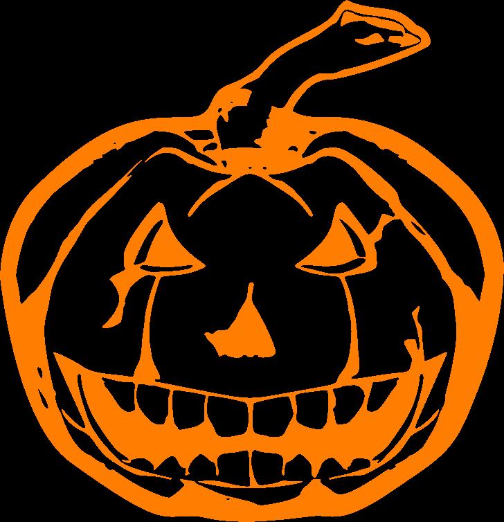 Clipart pumpkin line. Scary jackolantern orange medium