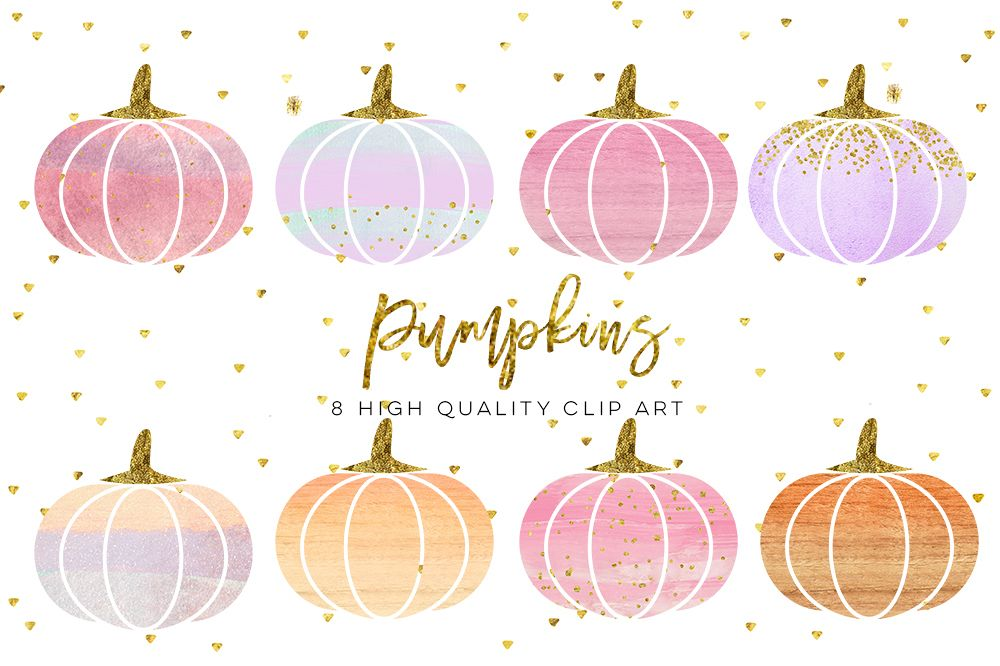 Watercolor clip art orange. Pumpkin clipart modern
