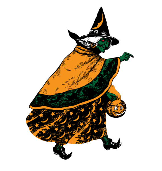 Halloween witch flying broomstick. Pumpkin clipart pail