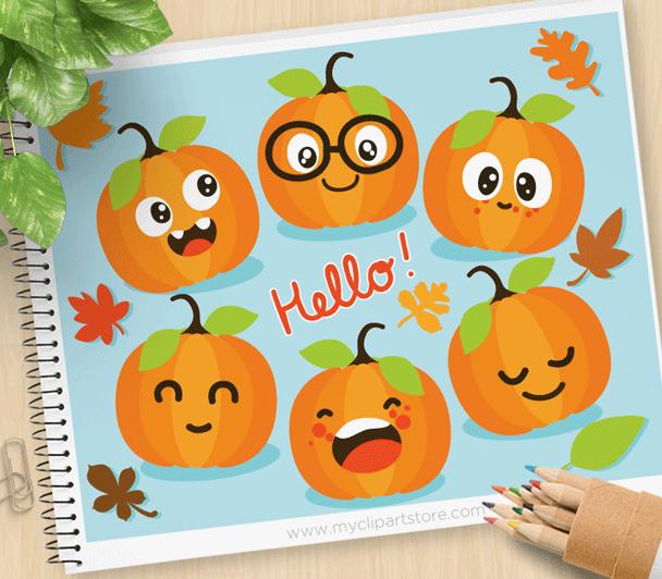 Cute pumpkins . Clipart pumpkin vector