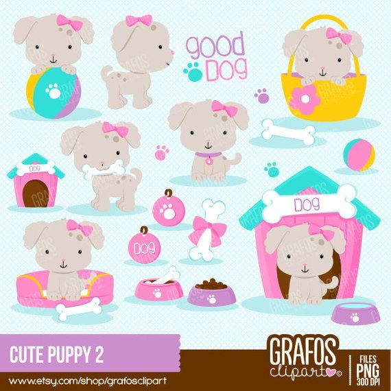 Clipart puppy 2 puppy. Cute digital set dog
