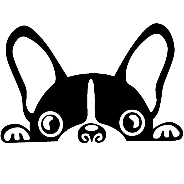 Boston terrier french bulldog. Clipart puppy black and white