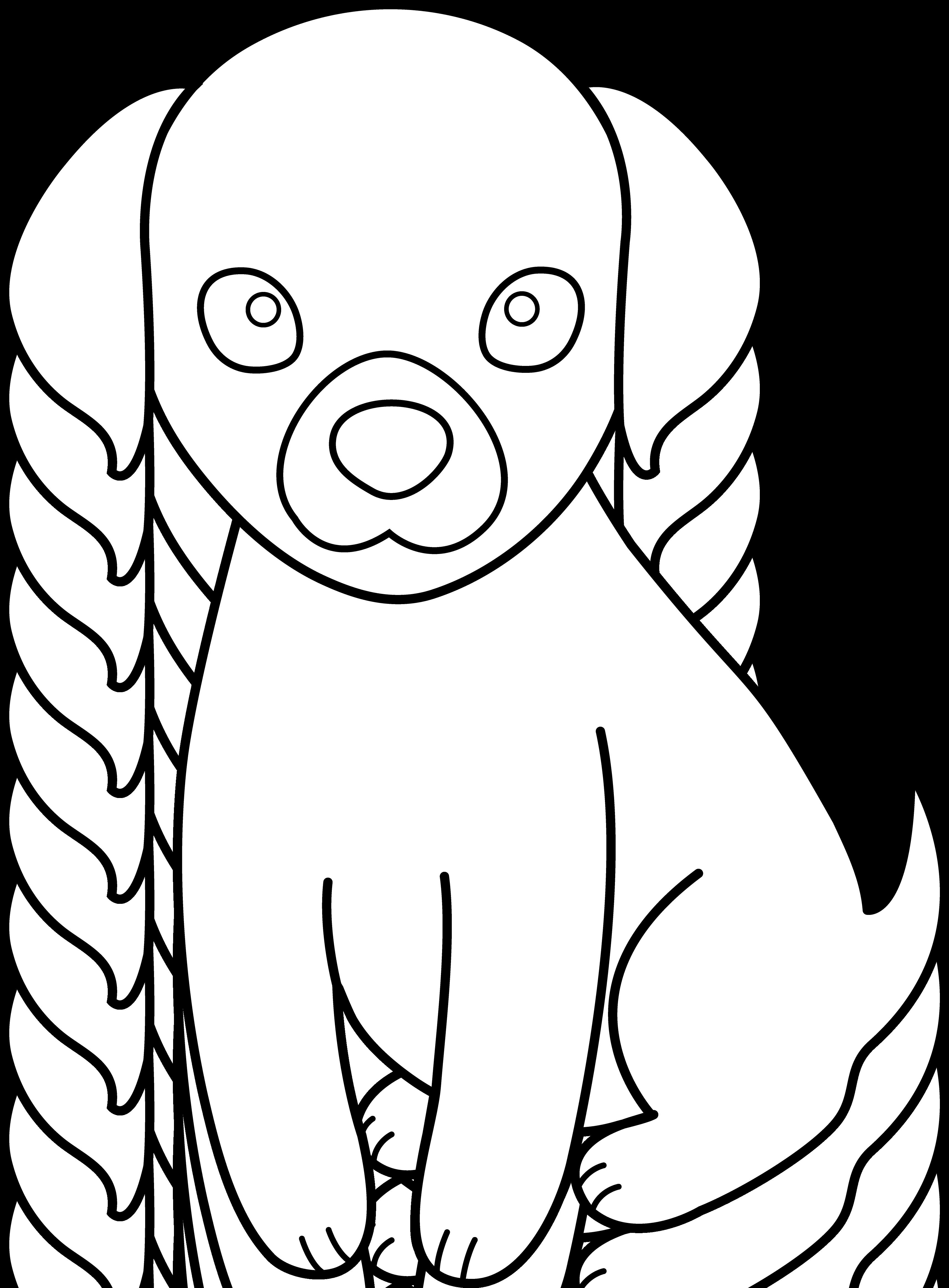 Colorable puppy line art. Doghouse clipart hen house