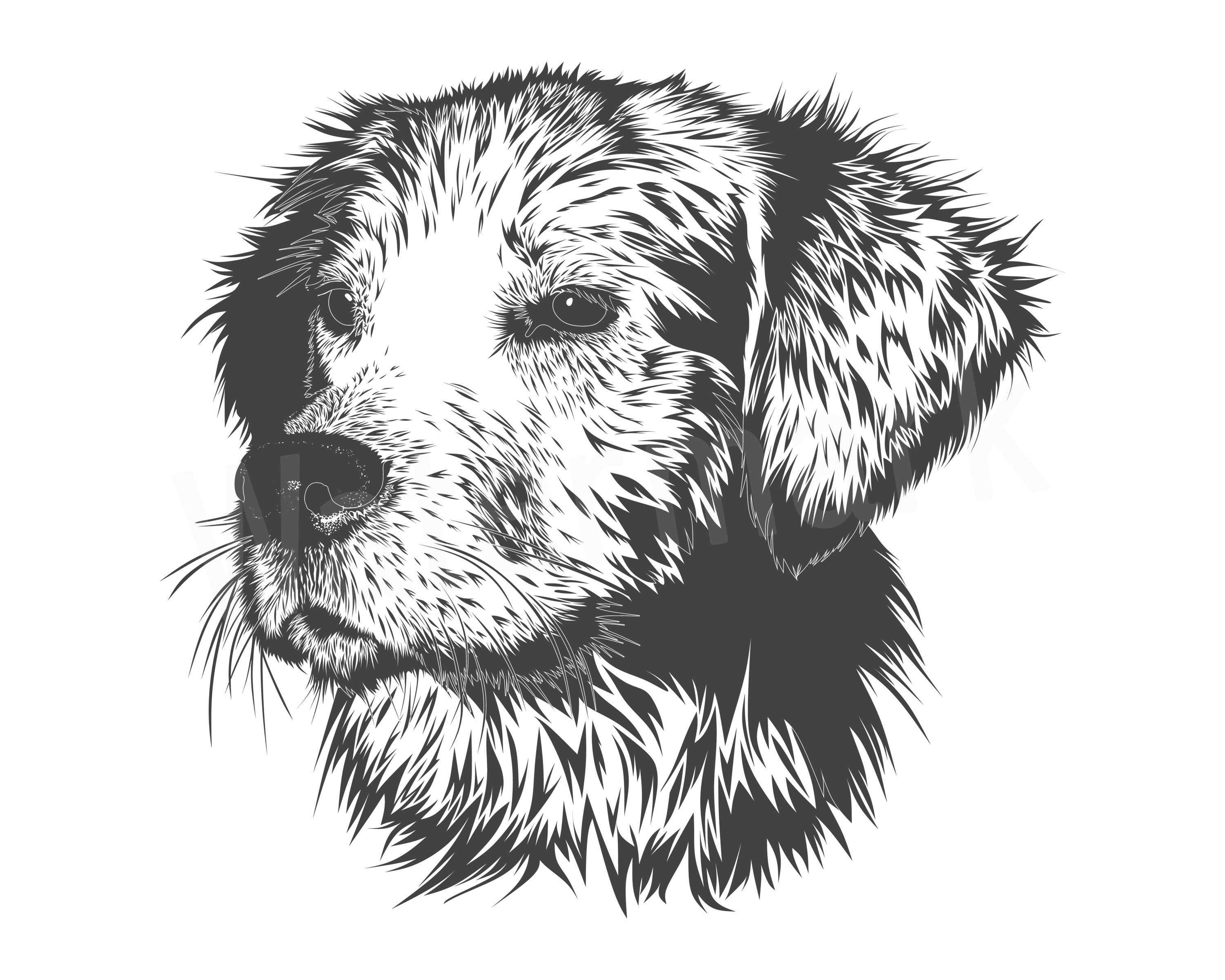 Dog face svg silhouette. Clipart puppy cut