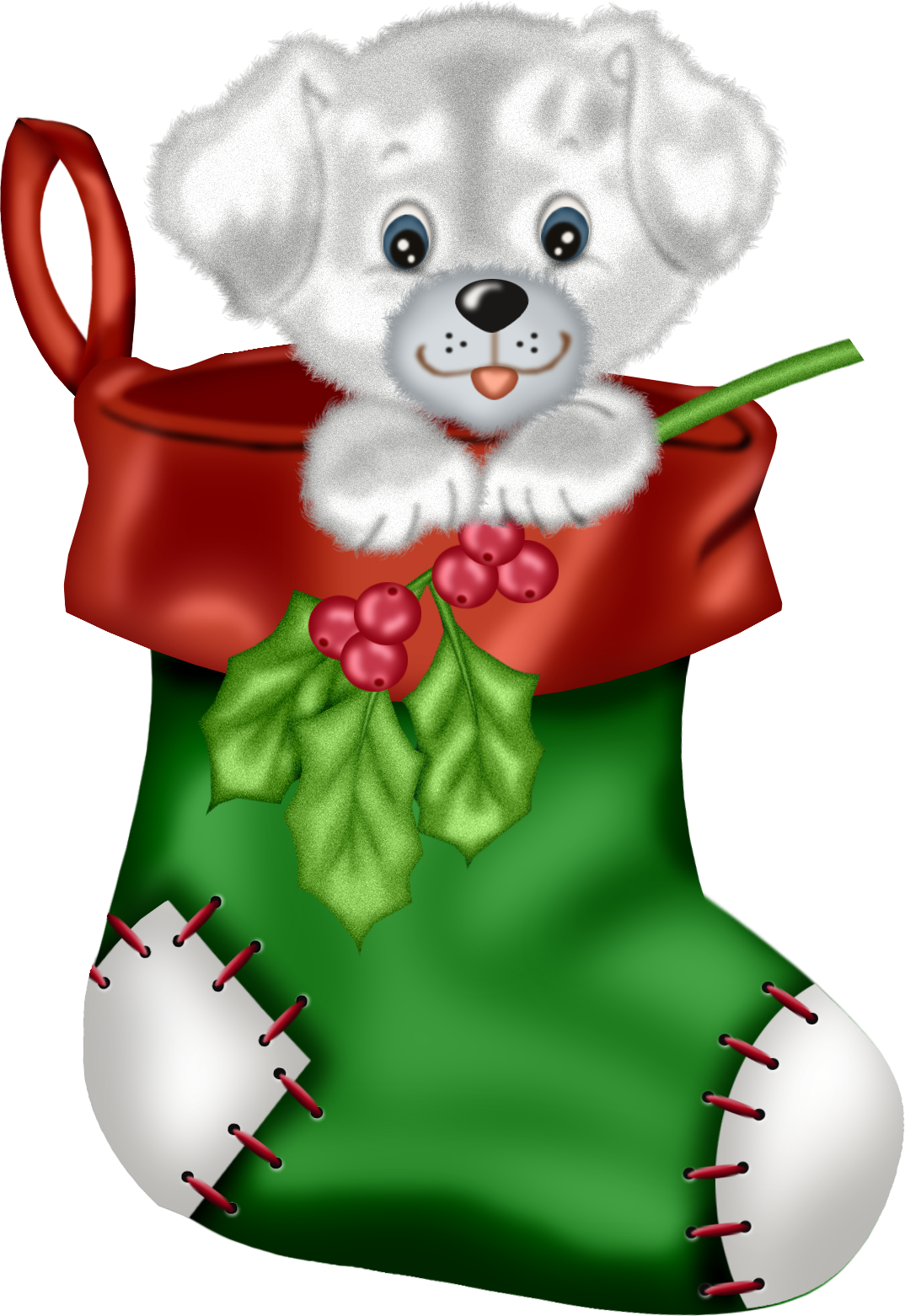 Green with puppy png. Kitten clipart christmas stocking clipart