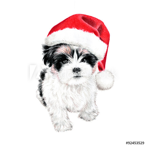 Clipart puppy holiday. Hand drawn dog with