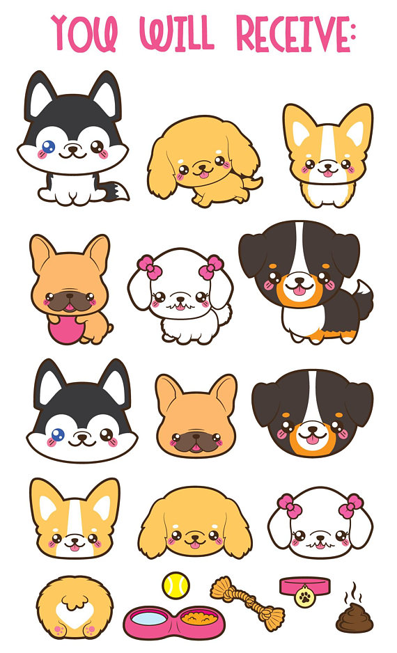Husky clipart kawaii. Dog cute breeds