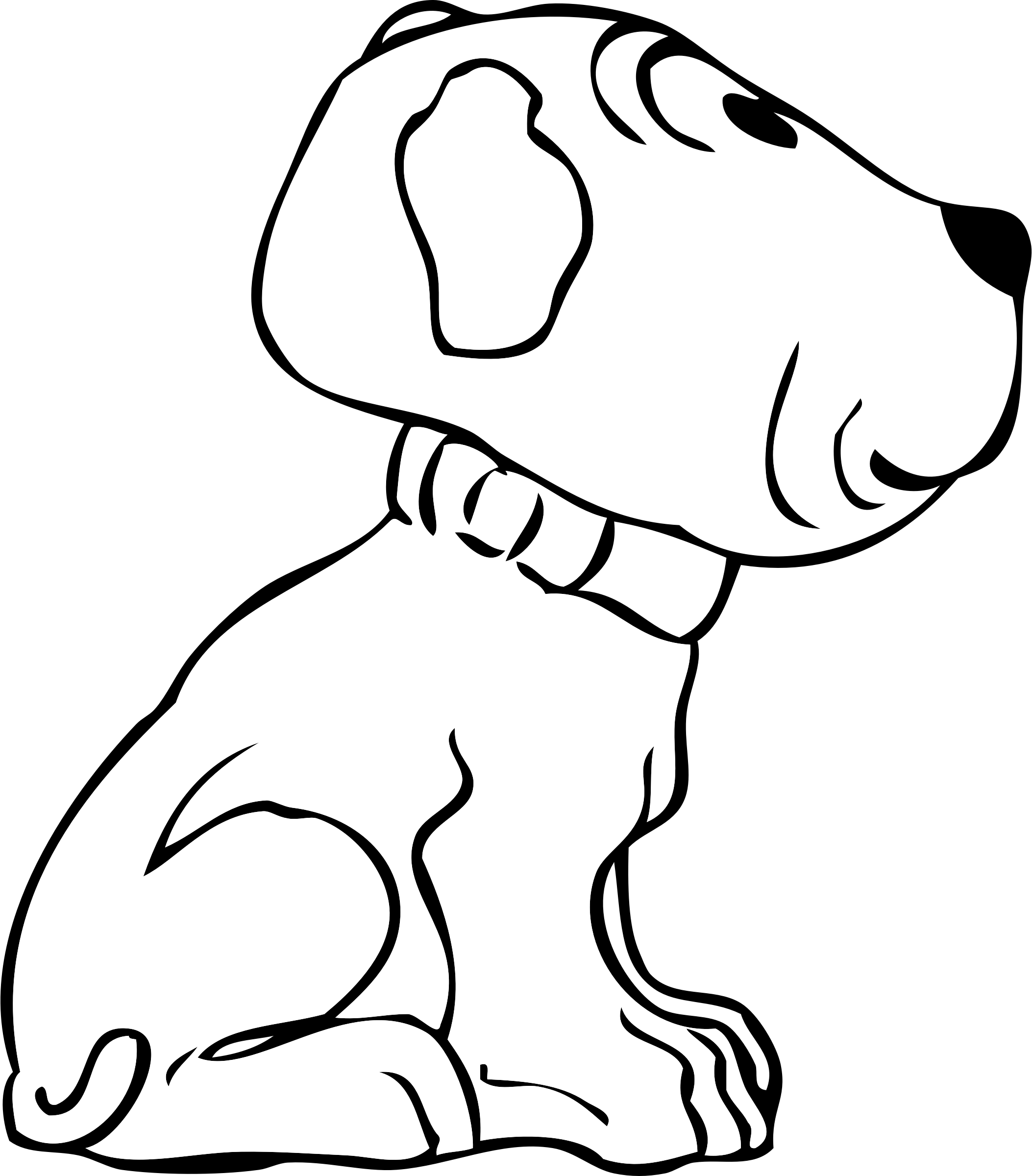 Side view big image. Clipart puppy line art