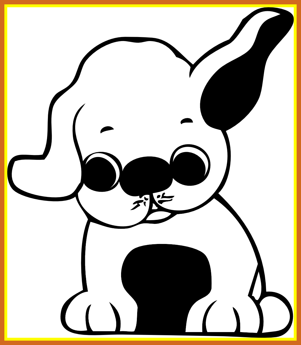 Awesome puppy clip art. Kittens clipart black and white