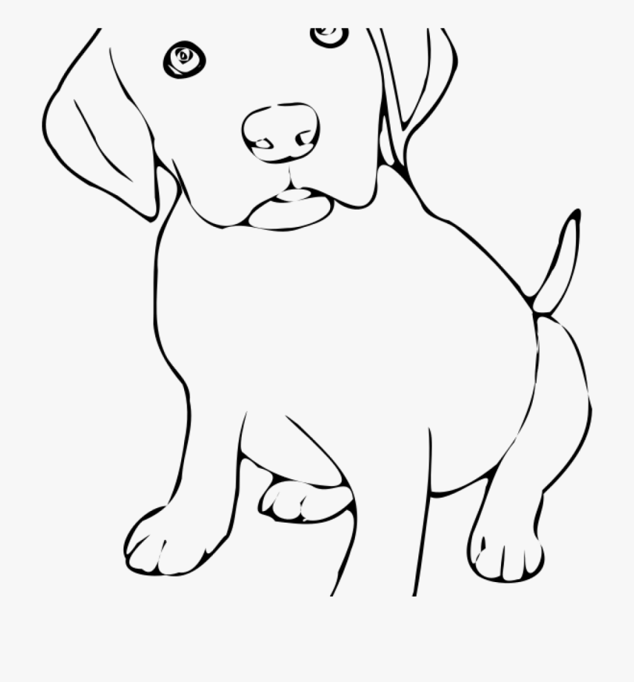 Clipart puppy line art. Black and white pup