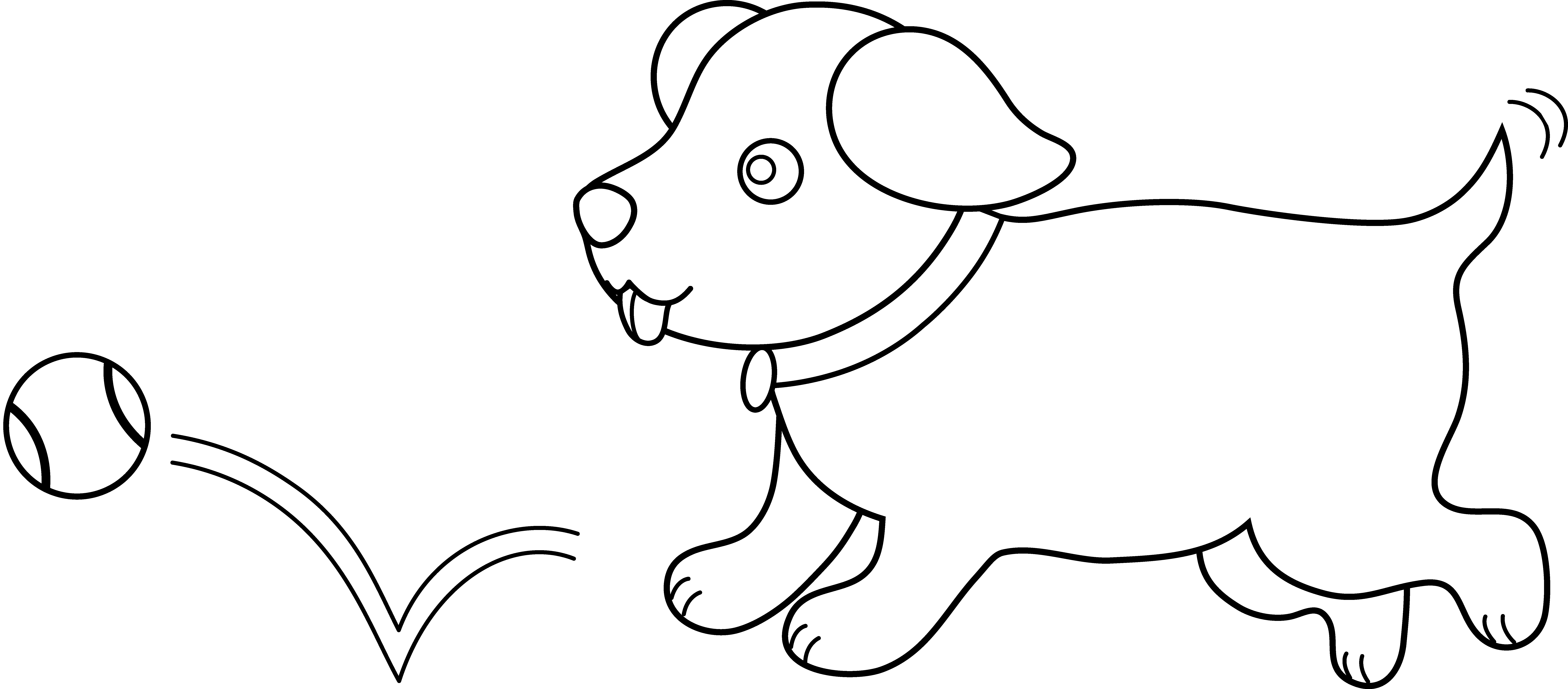 Line art of playing. Clipart puppy outline