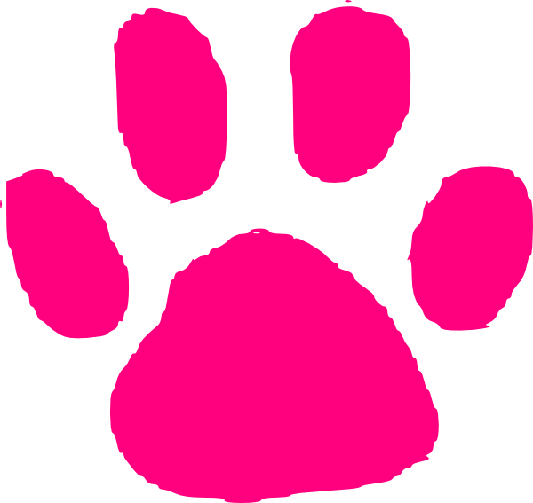 Pink paw print clip. Pawprint clipart small dog