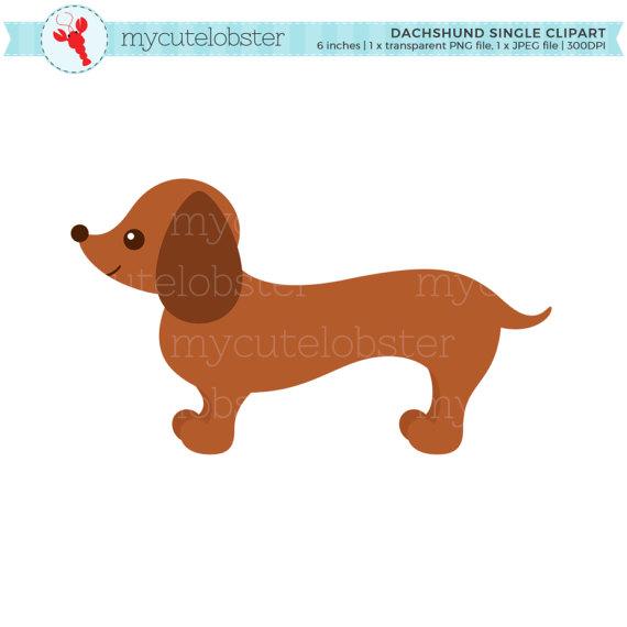 Dachshund single sausage dog. Clipart puppy small puppy