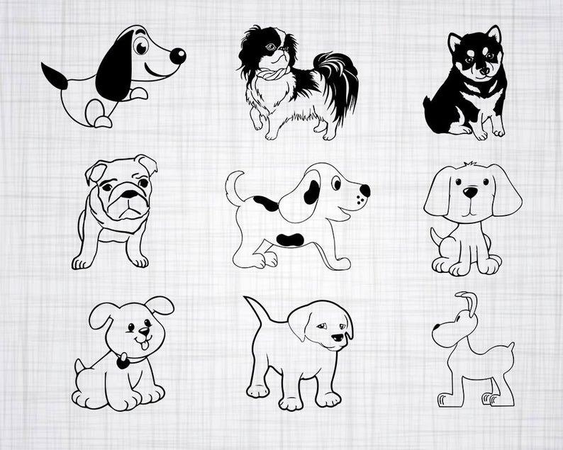 Clipart puppy svg. Bundle cut files for