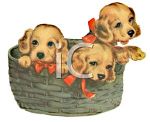 A colorful cartoon of. Clipart puppy three puppy