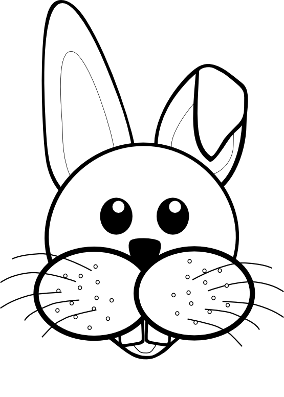 Face cartoon black white. Clipart rabbit coloring page