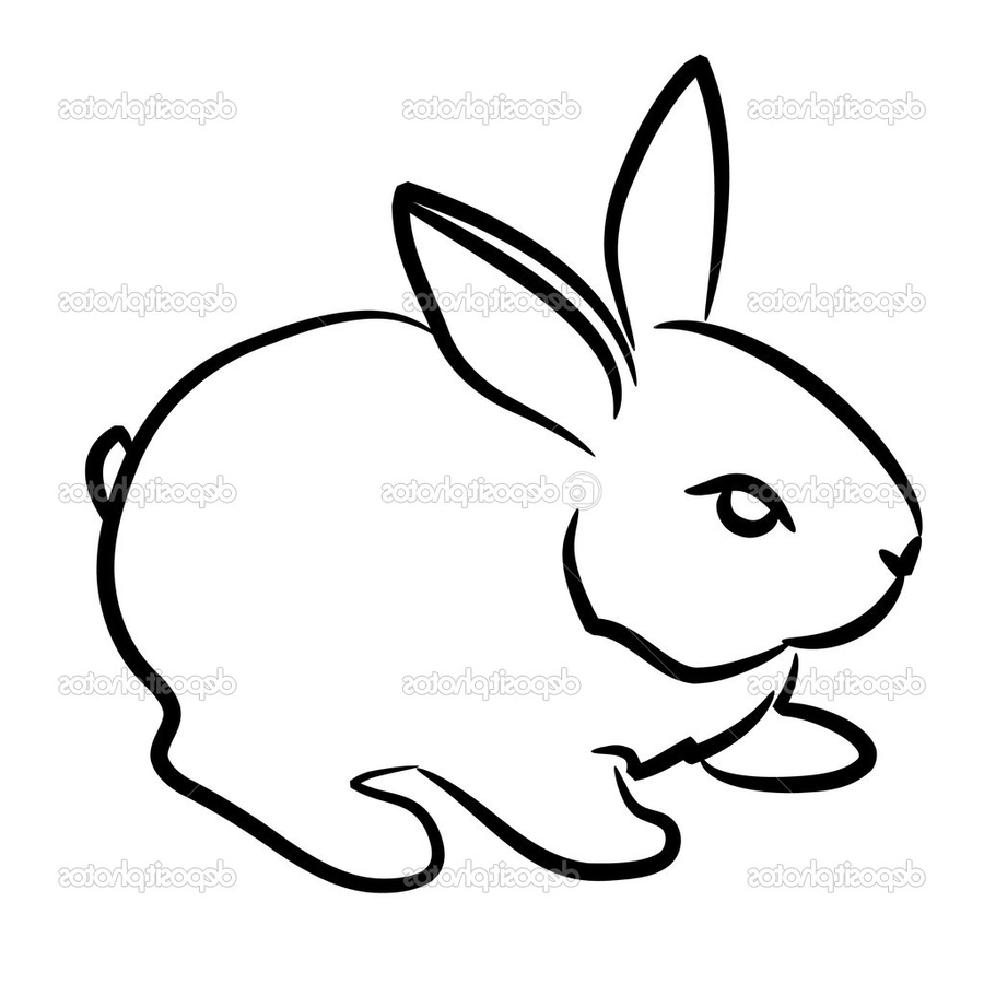 Drawing sketch pencil white. Clipart rabbit easy