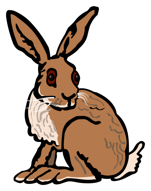 Collection of hares coloured. Clipart sleeping hare