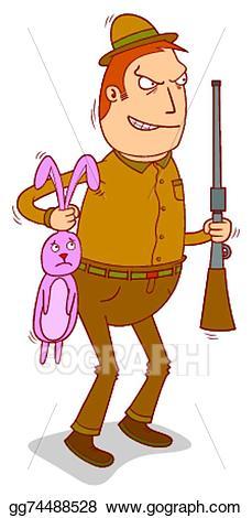 Vector art hunter drawing. Hunting clipart rabbit hunting