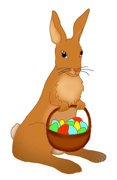 Funny easter with daffodils. Eggs clipart bunny