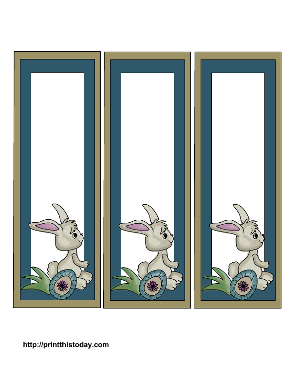 Clipart rabbit printable. Free easter bookmarks cute