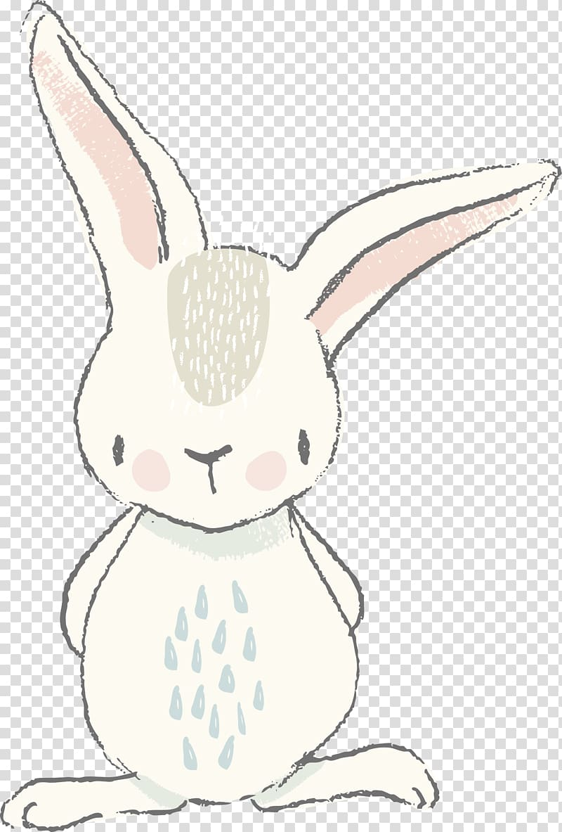 Easter bunny white painting. Clipart rabbit watercolor