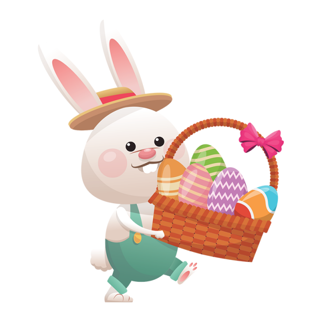 Outdoors clipart psd. Easter rabbit with eggs
