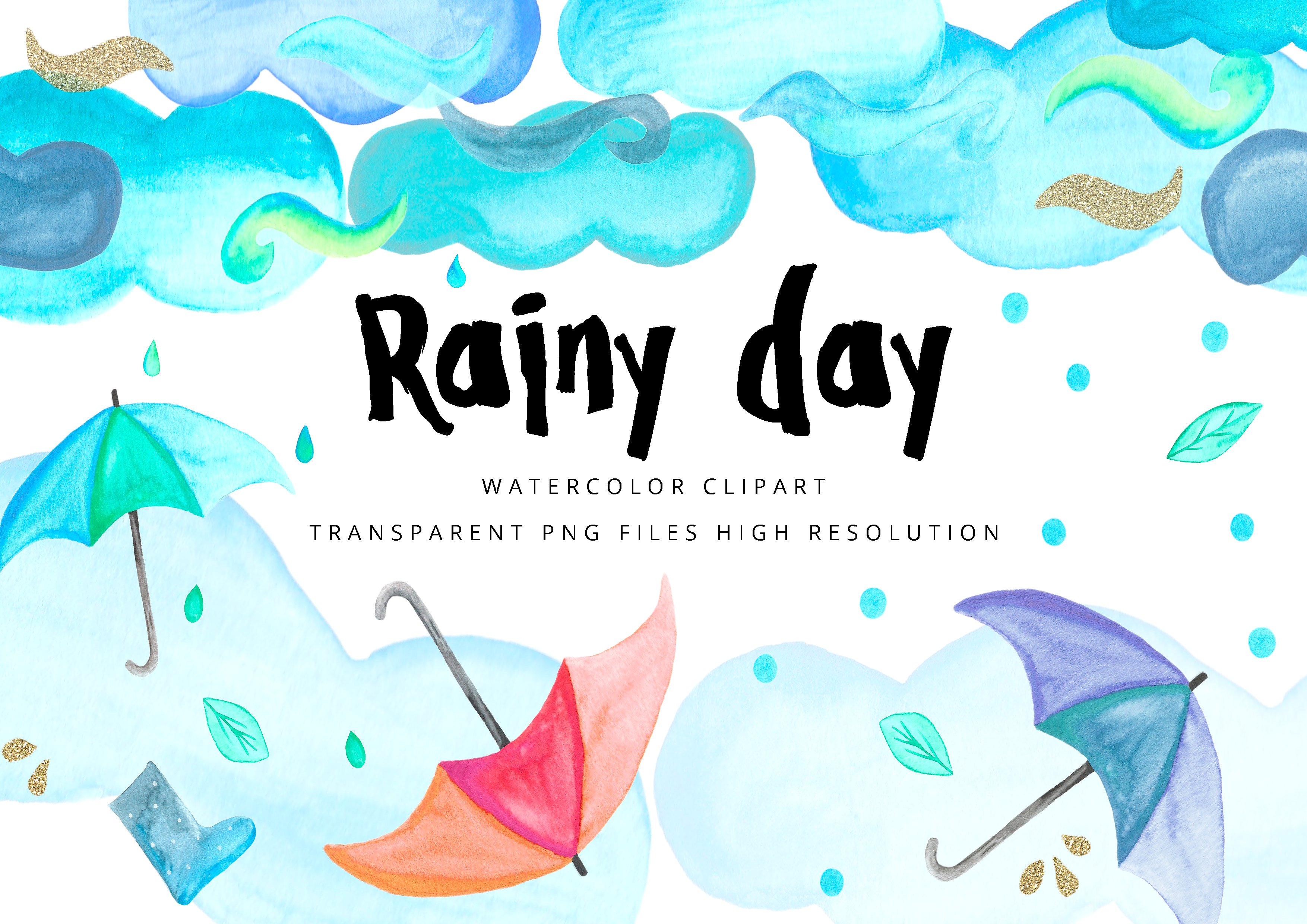 Clipart rain. Rainy day watercolor illustrations
