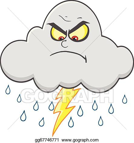 Eps illustration cloud with. Clipart rain angry
