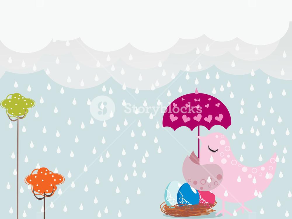 Rainy day background illustration. Clipart rain backdrop