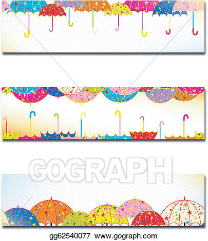 Clipart umbrella banner. Vector art set of