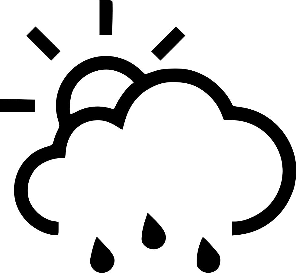 Clipart rain black and white. Partial sun svg png