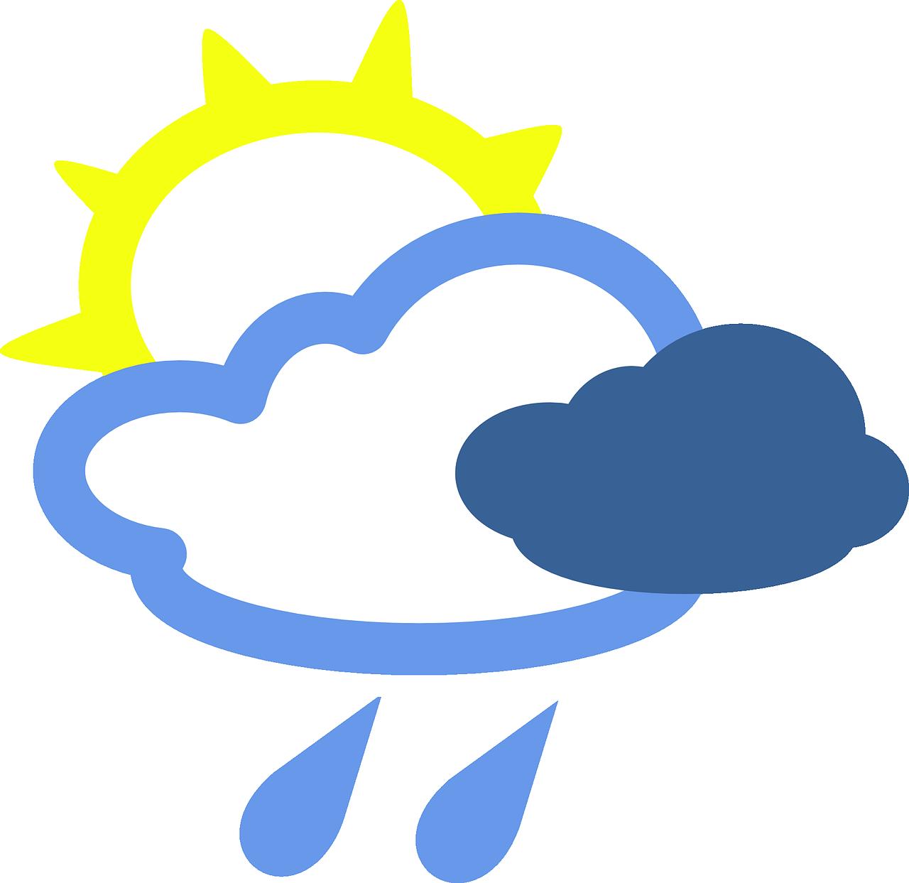 Cloudy sunny sun rain. Thunderstorm clipart overcast