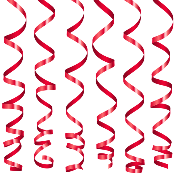 Red Curly Ribbons PNG Clipart Image