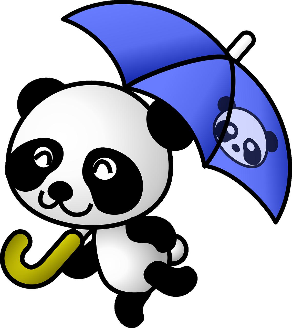 Clipart rain cute. Panda animal umbrella png