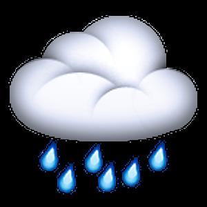 Cloud with emojis store. Clipart rain emoji
