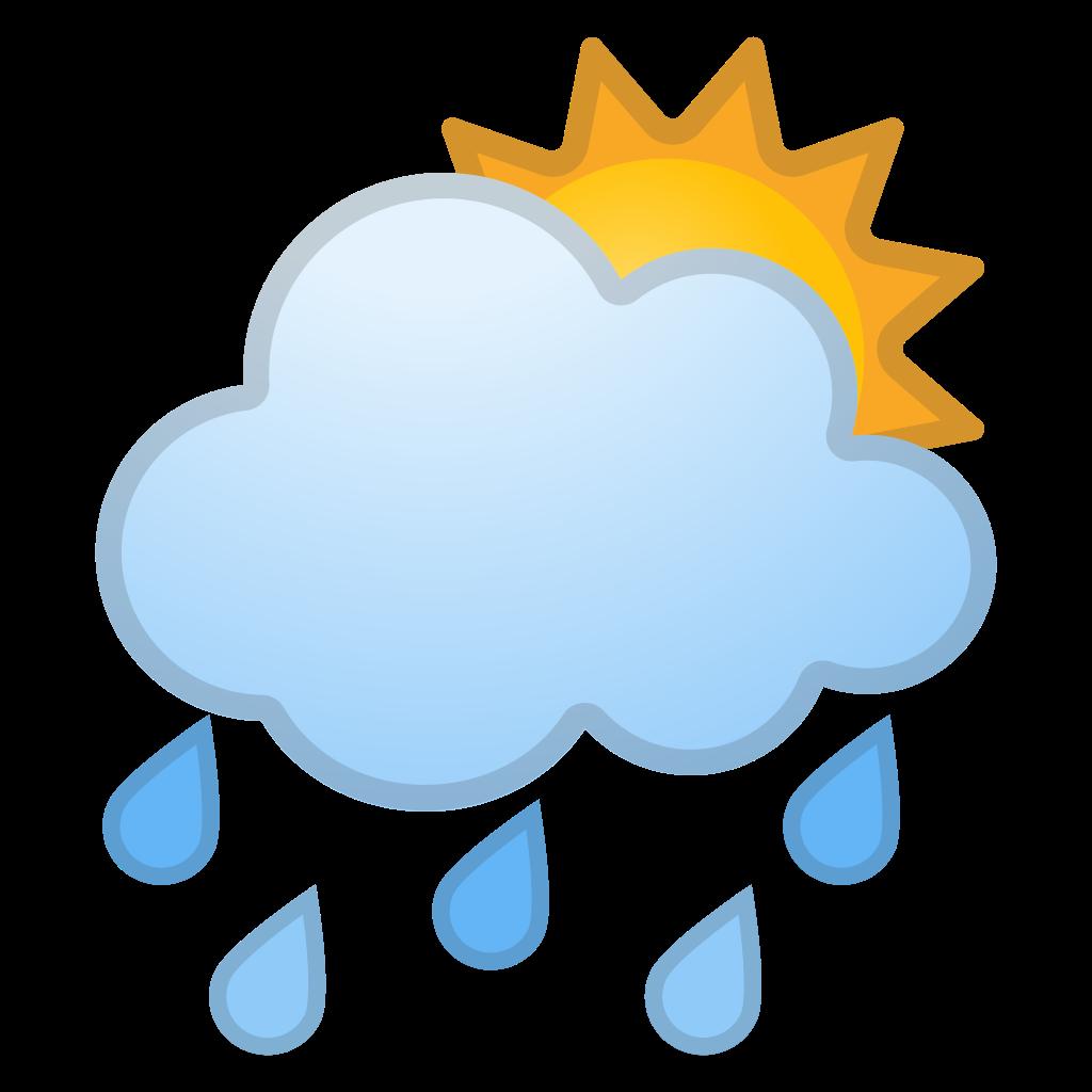 Sun behind cloud icon. Clipart rain emoji