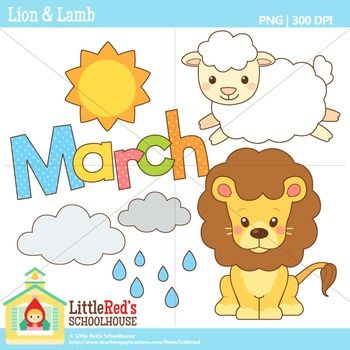 Lion and teaching things. Lamb clipart march