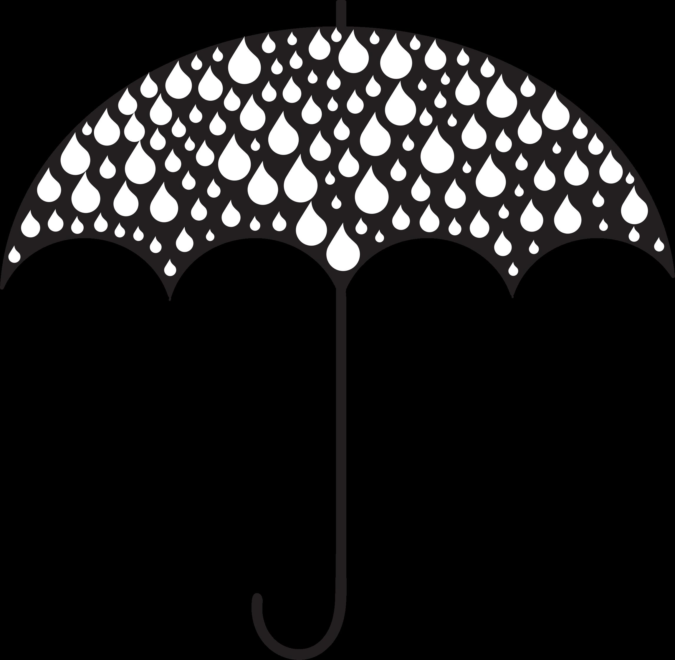 Rain drops umbrella silhouette. Raindrop clipart weather