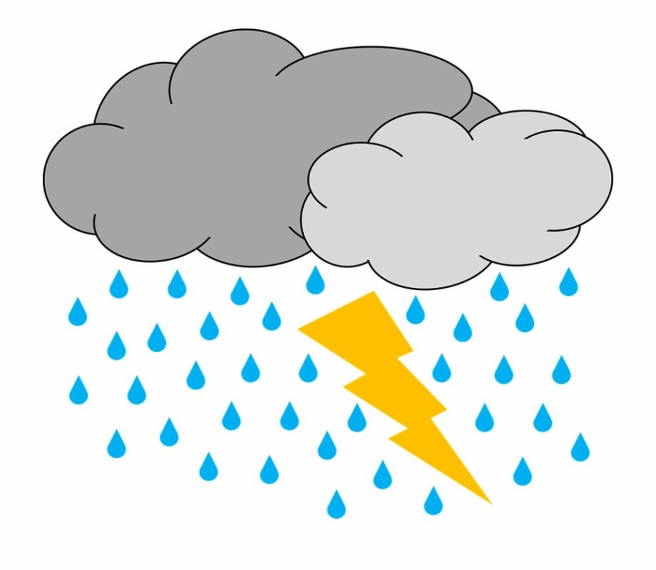 Thunderstorm cloud and thunder. Clipart rain rain storm