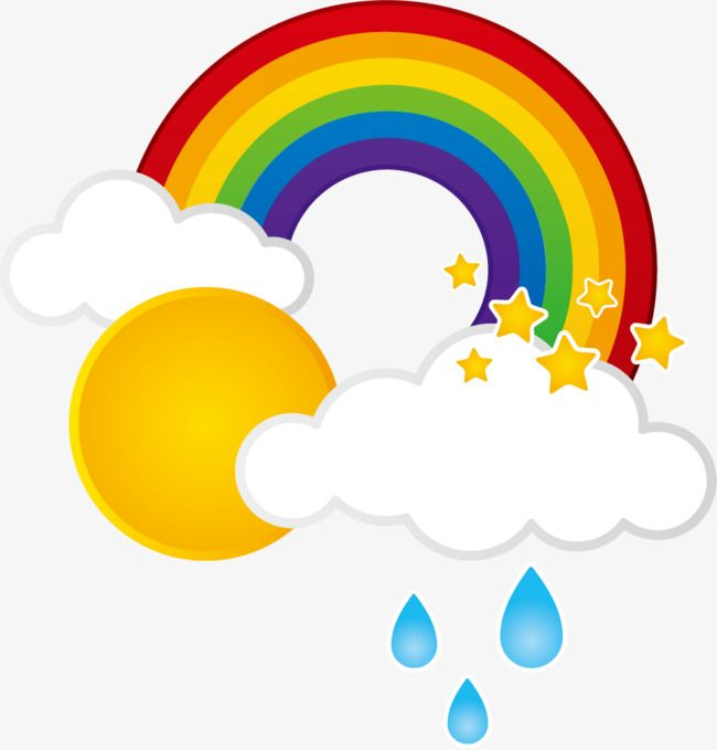Clouds sun png . Clipart rainbow rain