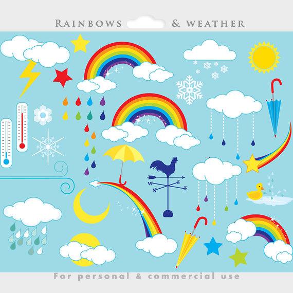 Raindrop clipart weather. Rainbows clip art rainbow