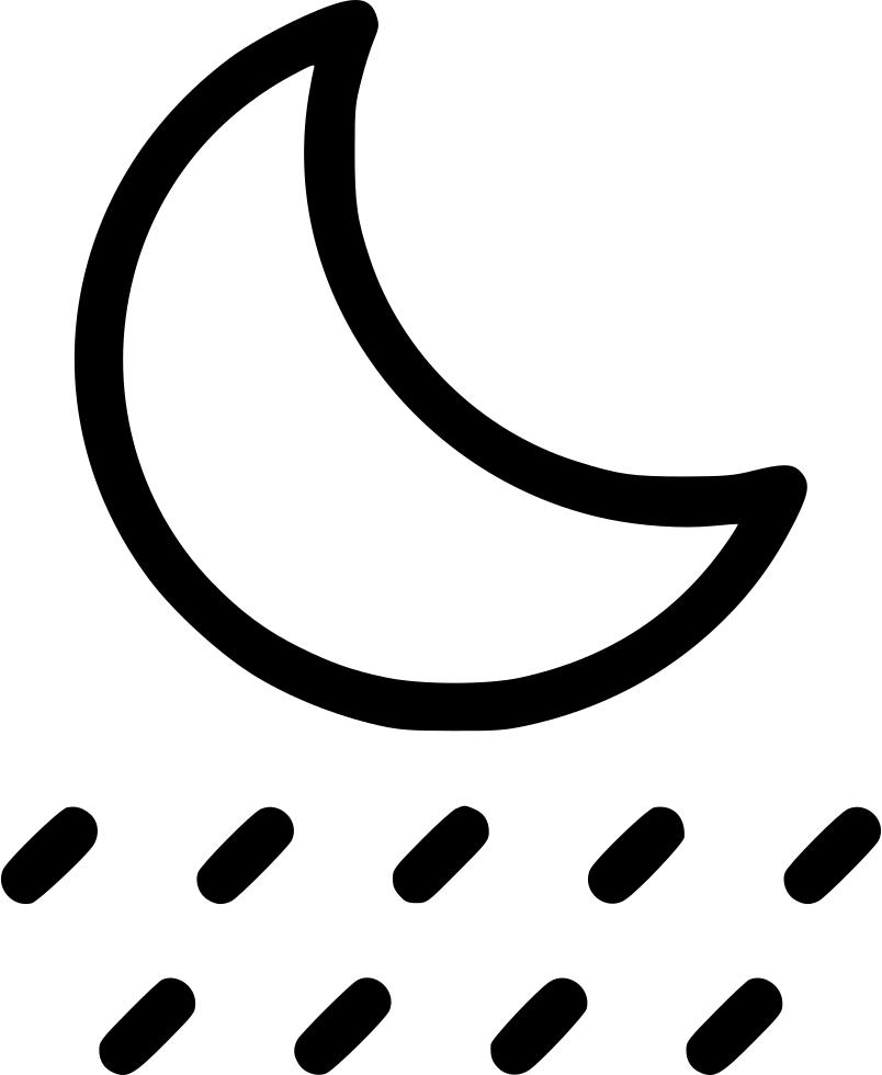 Clipart rain rainfall. Night raining moon svg