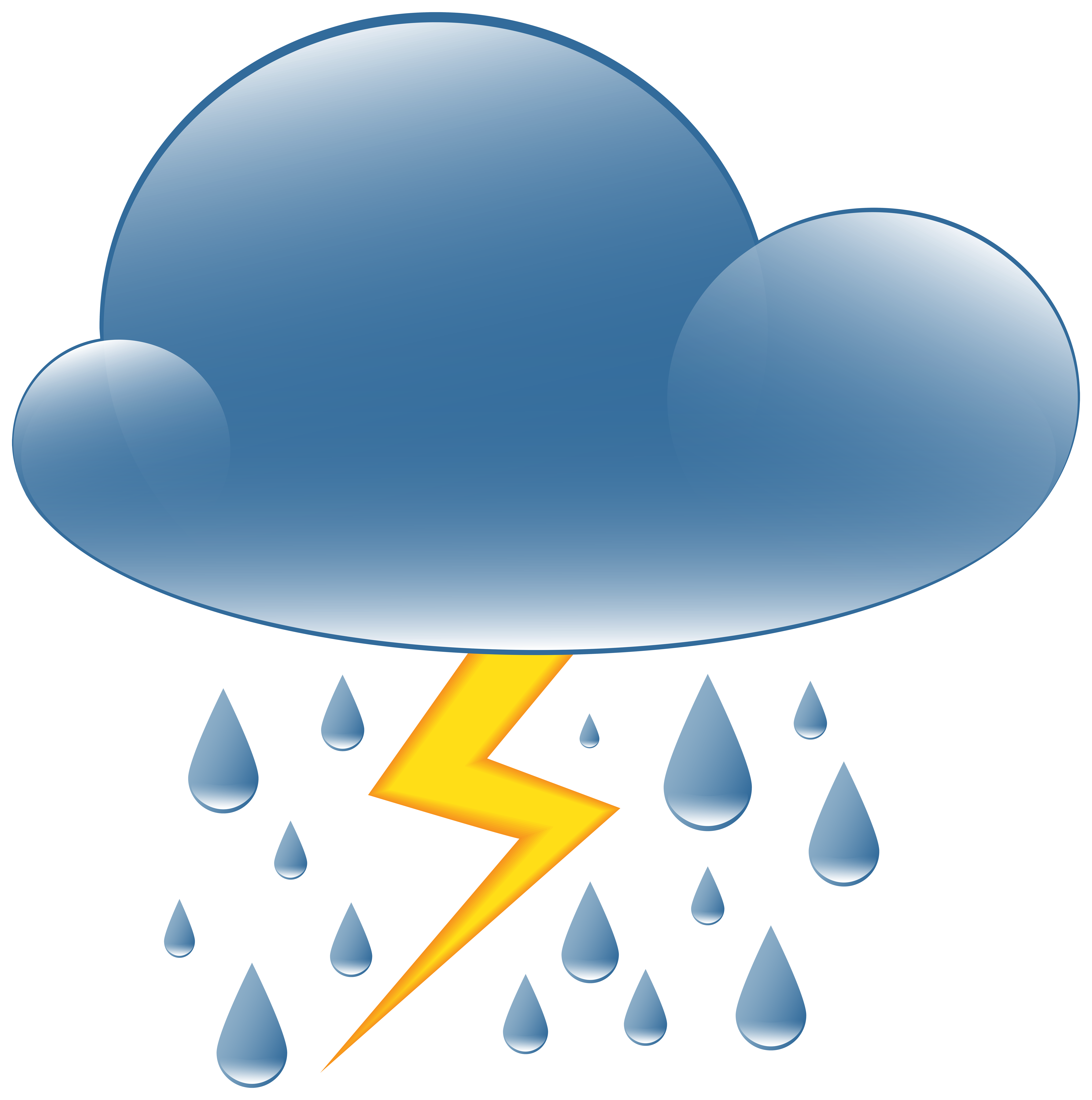Thundery showers weather icon. Lighting clipart thunderstorm safety