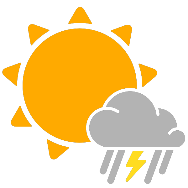 Simple icons partly mixed. Sunny clipart rainy weather